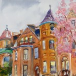 "Brownstones and BlossomsWatercolor, 13"" x 18"""