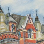 "Back Bay TurretsWatercolor, 4.5"" x 6.5"""