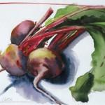 "Winter BeetsWatercolor, 9.5"" x 14"""