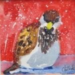 """SnowbirdWatercolor and Liquid Wax, 6"""" x 6"""""""